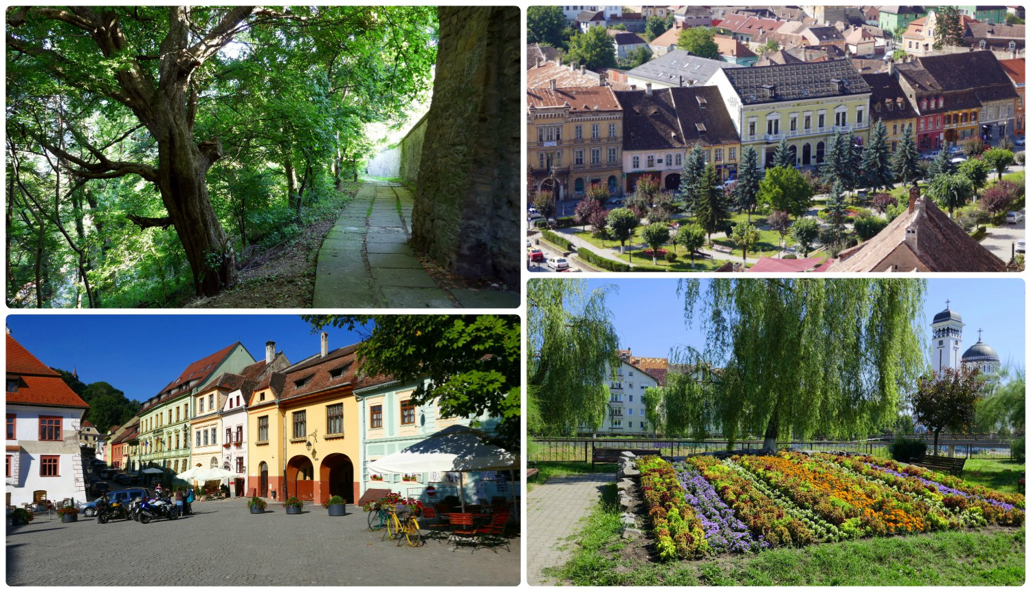 Sighisoara is a beautiful town with many aspects for visitors to enjoy. Clockwise (from the top): The lower part of the hill that the Citadel was built on (with the exception of the the 'new city center' side of the hill) is a forested park-like area with many winding paths leading to the top, a view of the newer part of city center taken from the Clock Tower, we walked past a garden along the water way that was opposite the Holy Trinity Church, Citadel Square is a popular meeting place for locals and tourists.