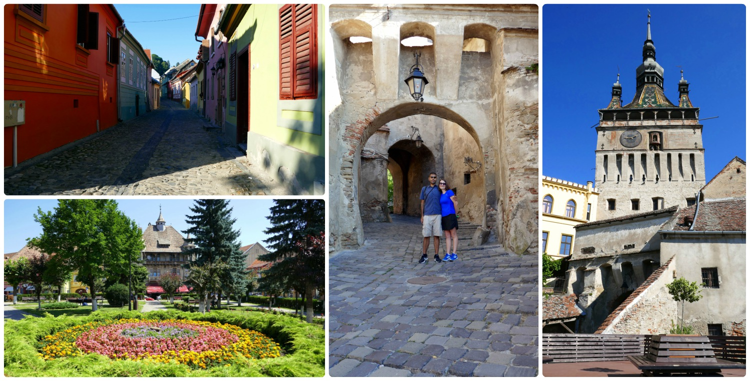 Sighisoara caught our imaginations and is a must see destination when in Romania! Clockwise (from the top): The colorful homes in the citadel, us standing under the Clock Tower, the Clock Tower from the vantage point of a nearby rooftop, the city square in the 'new town' has a colorful center garden.