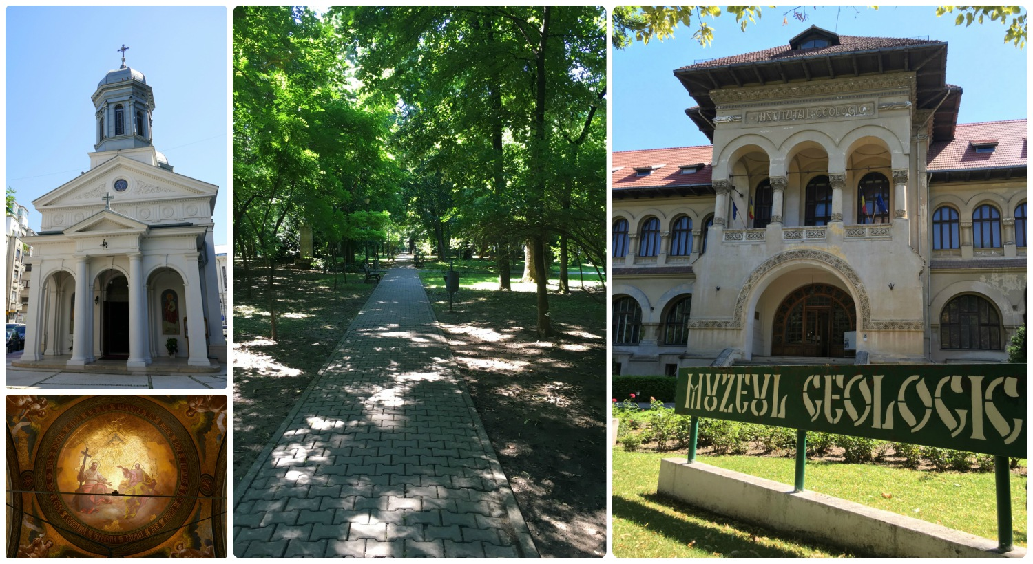 When we explored Bucharest by foot, we found many interesting places! Left to right: The exterior (top left image) and interior (bottom left) of White Church Parish (Biserica Alba), a walkway through Kisleff Park, the National Geology Museum.