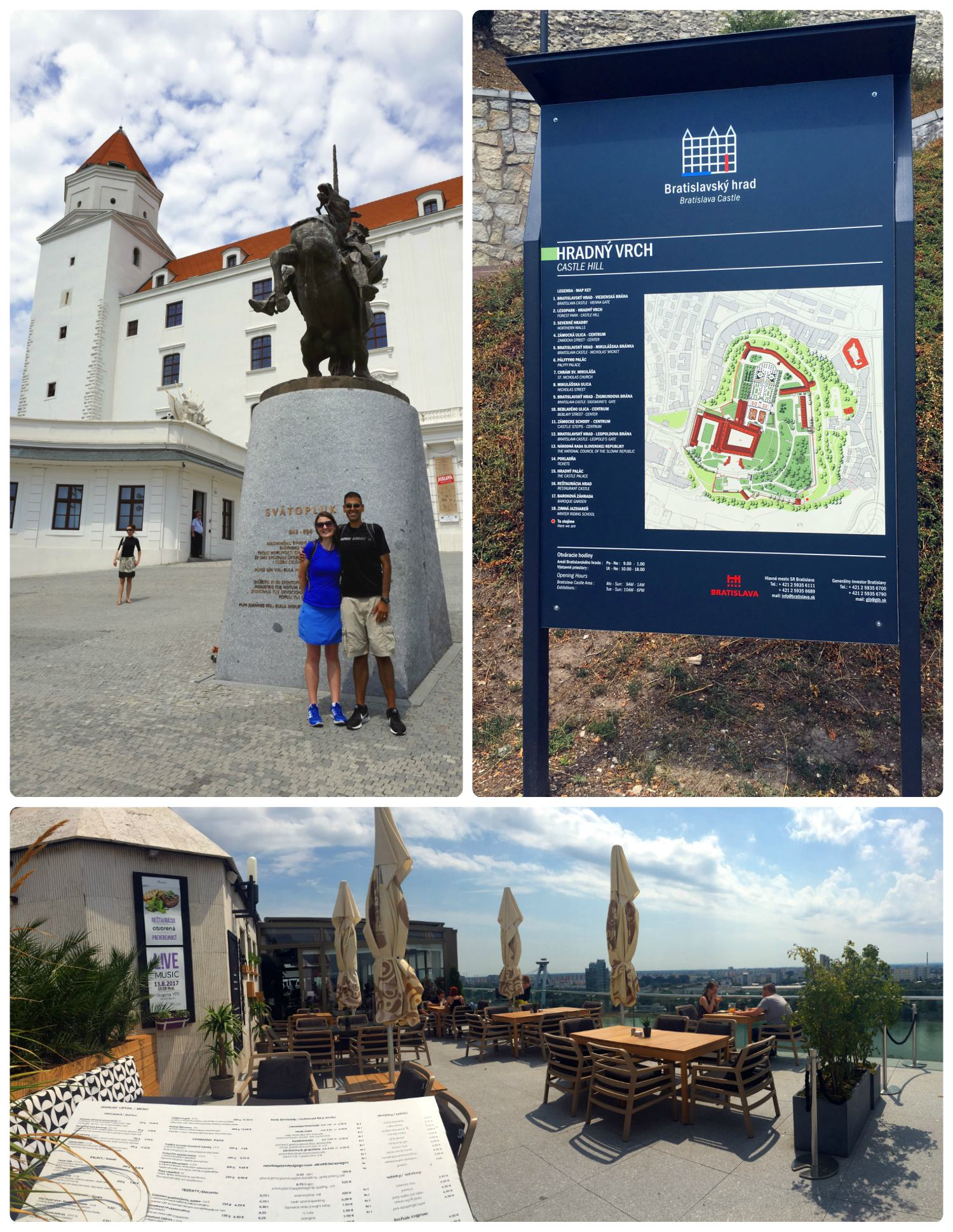 Clockwise (from the top): Us in front of the castle by the Svatopluk statue, a map of the castle grounds, just outside the castle is the Restaurant Parlament that offers patio seating and panoramic views.