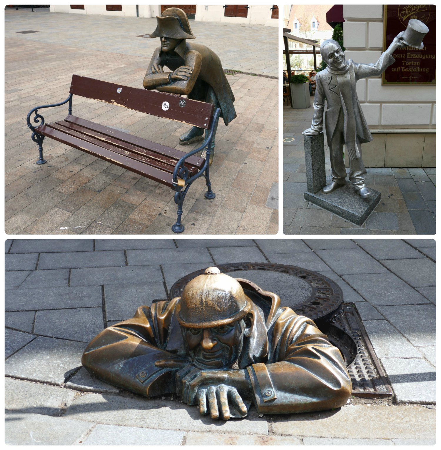 The sculptures around town are a huge draw for visitors and you'll likely have to wait your turn for an up close photograph. Clockwise (from the top): The Napoleon Soldier keeping visitors on the bench company, Schone Naci greeting passersby, the Man at Work (Cumil) who's either not working or sneaking a peak at passing women.