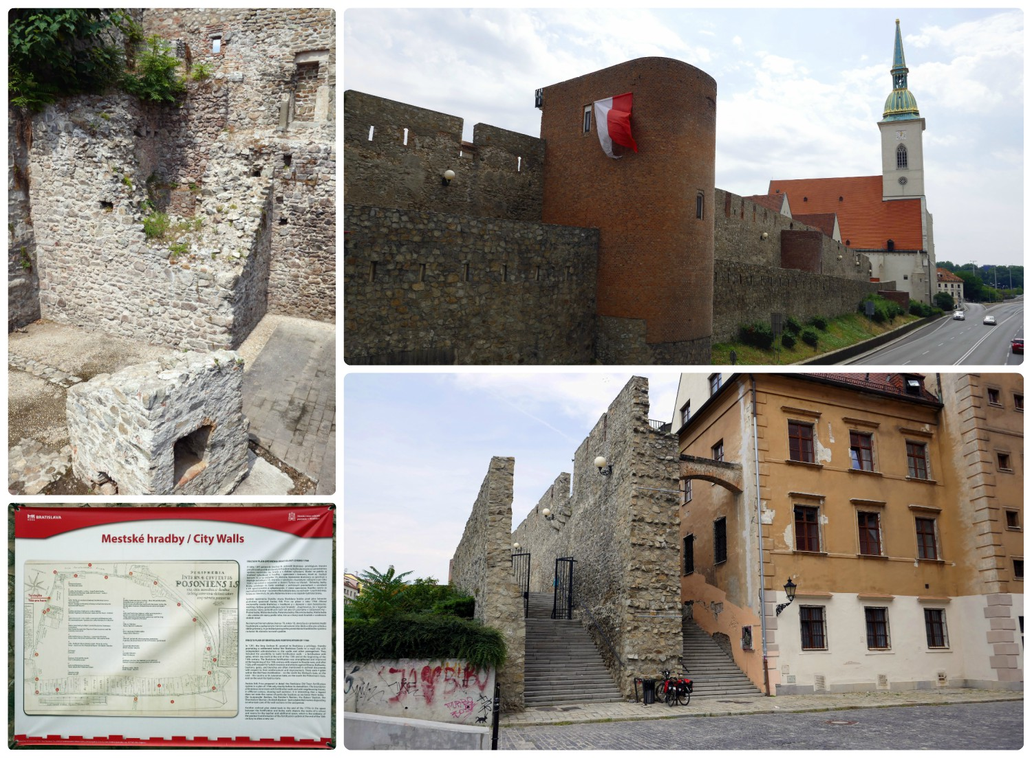 The Old Wall runs parallel to Staromestská Street and is easiest to locate from St. Martin's Cathedral. In the top, right image you can see that the wall runs right up to the cathedral, while in the bottom right image you can see where the wall ends, directly opposite the entrance to St. Martin's cathedral. Alternatively, take the pedestrian bridge over Staromestská Street and reach the area where informational signs are hung on the wall. Plus, from here you can walk along and to the other side of the wall.