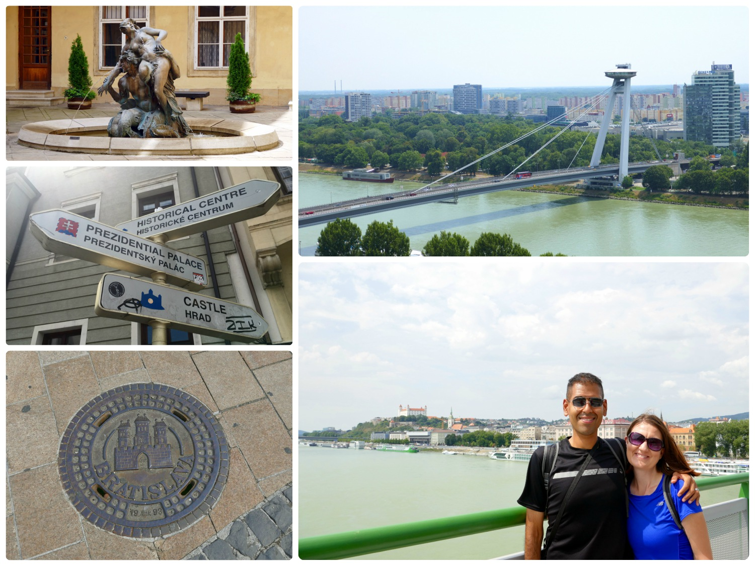 Beyond the sights we planned to see in Bratislava, we found so much more as we explored! Clockwise (from the top): A fountain in the courtyard of Mirbachov Palác, the bridge known as the UFO Bridge, us on Old Bridge over the Danube River, don't forget to look down as the man hole covers say 'Bratislava' on them, signs pointing in the directions of the nearby tourist attractions.
