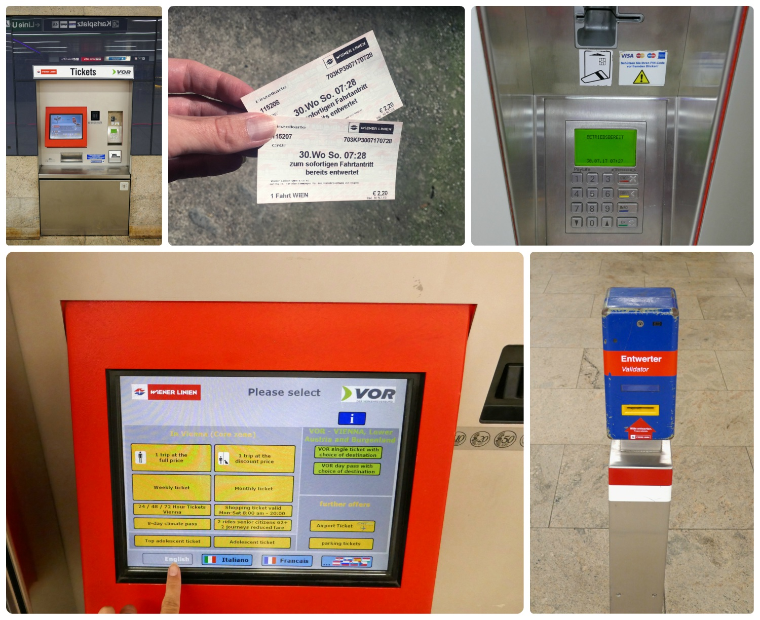 Public transportation tickets in Vienna work on all vehicles (trams, buses, U-Bahn). Clockwise (from the top): A ticket machine in a U-Bahn station, our Single Journey tickets, an up close shot of the ticket machine screen showing ticket options as well as language options, the ticket validation machine where you insert your ticket in the slot that's highlighted in yellow with the red arrow.