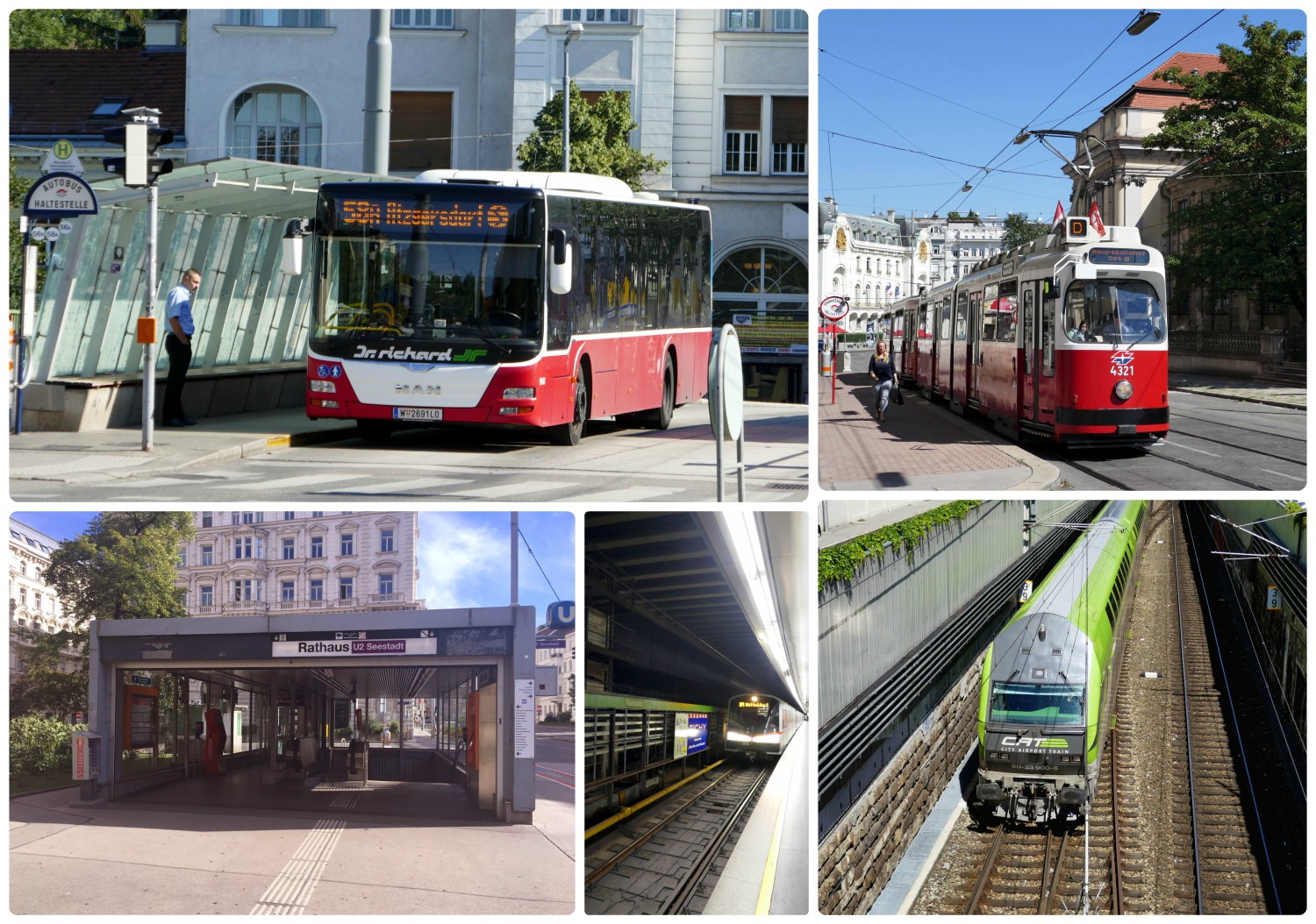 Public transportation includes buses (top left), trams (top right), trains (bottom right), and underground/U-Bahn (bottom middle). The bottom left image is of the entrance to a U-Bahn station.