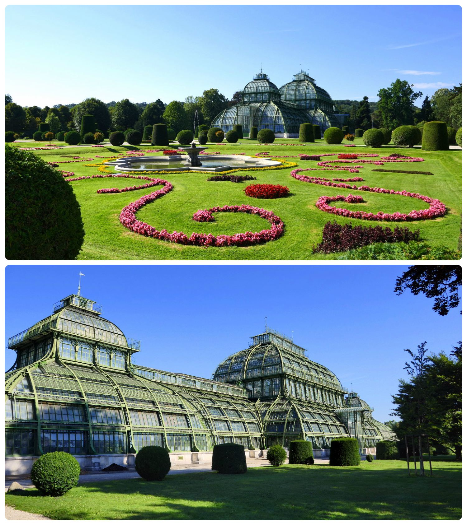 The Palm House is picturesque, especially in the background of the fountains and manicured garden.