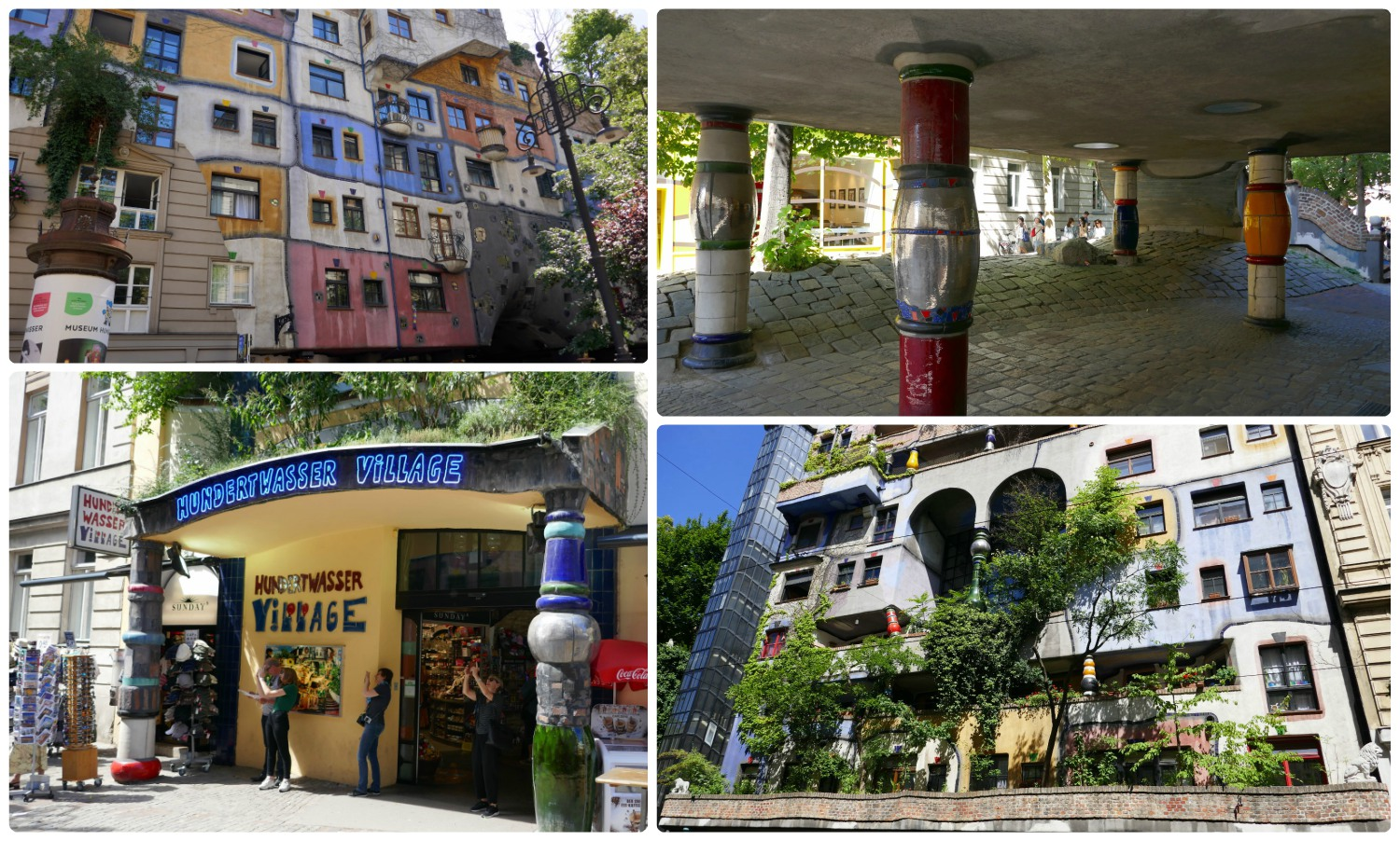 Visit Hundertwasser House and be sure to walk around the building to see it all! Plus, across from the building is the Hunderwasser Village (bottom left).