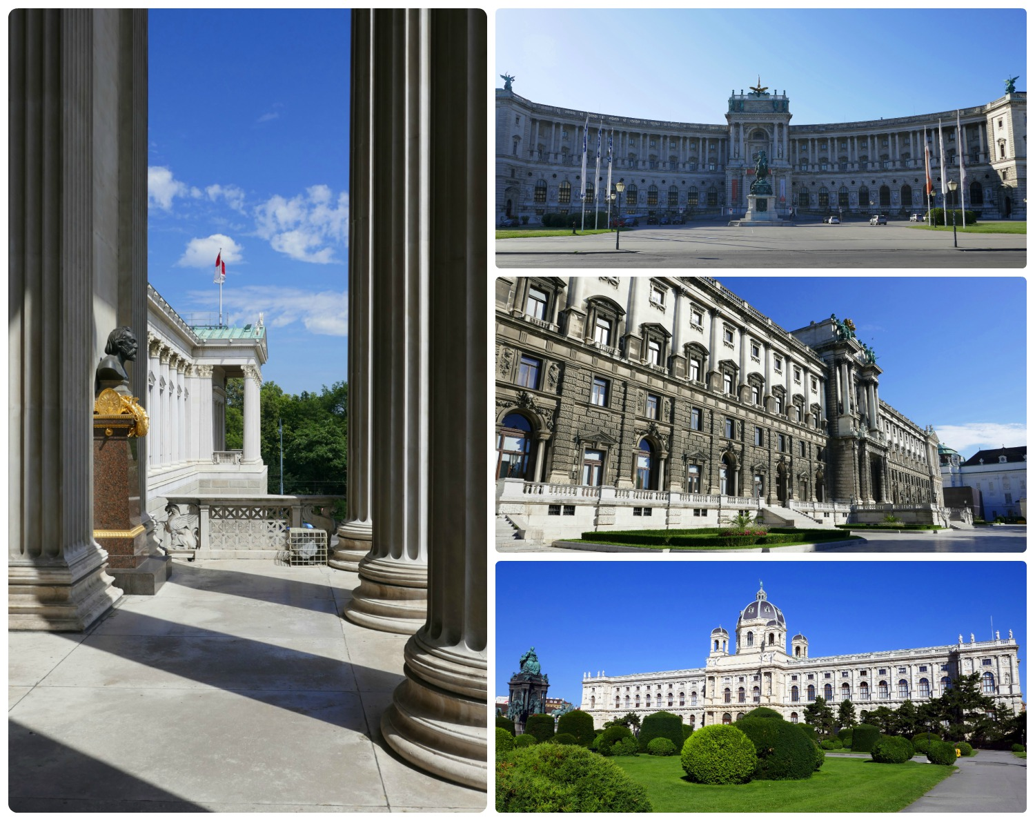 The buildings that line Ringstrasse are impressive! Clockwise (from the left): Parliament as seen from the top of the steps, the front of Neue Burg Imperial Palace, the back of Neue Burg Imperial Palace, the Museum of Natural History and the gardens in front of it.