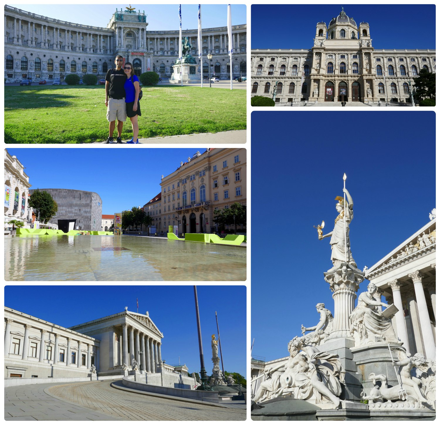 Most of the destinations in Vienna are on or near Ringstrasse. Clockwise (from the top): Neue Burg Imperial Palace (home of the Austrian National Library), the Museum of National History, the fountain in front of Parliament, the driveway and front exterior of Parliament, courtyard and fountain inside Museum Quarter.