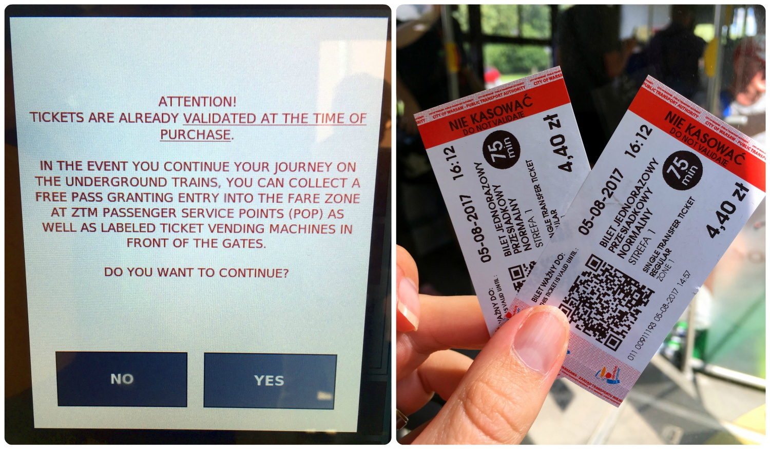 """Tickets bought on the bus are already validated. Before finalizing the purchase, a warning is shown on the ticket machine screen. Once the tickets have been printed, you can see the red stripe that says """"Do Not Validate""""."""