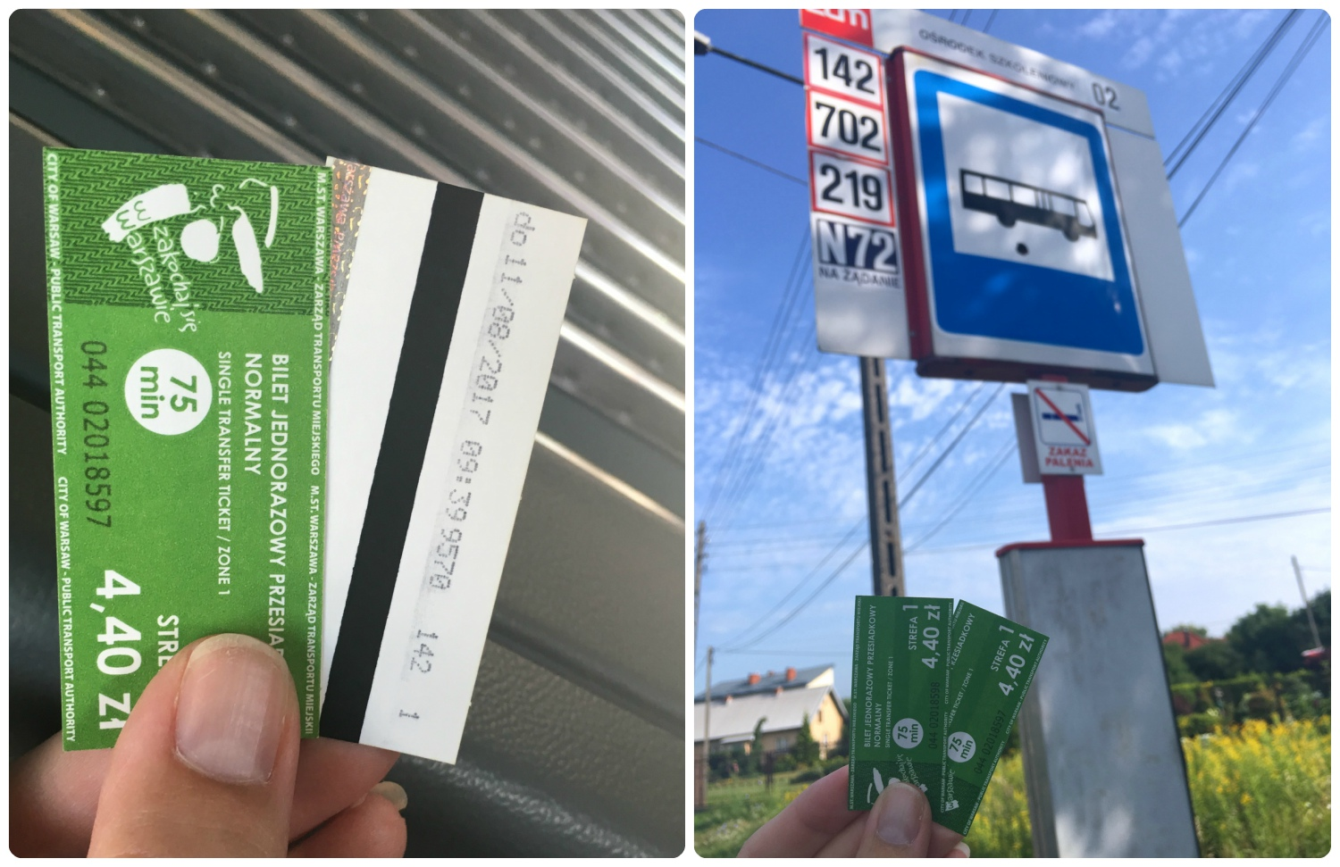 These tickets were purchased ahead of time at a storefront and then validated on the bus when we started our journey. You can see the stamped validation on the back of the ticket in the left image.
