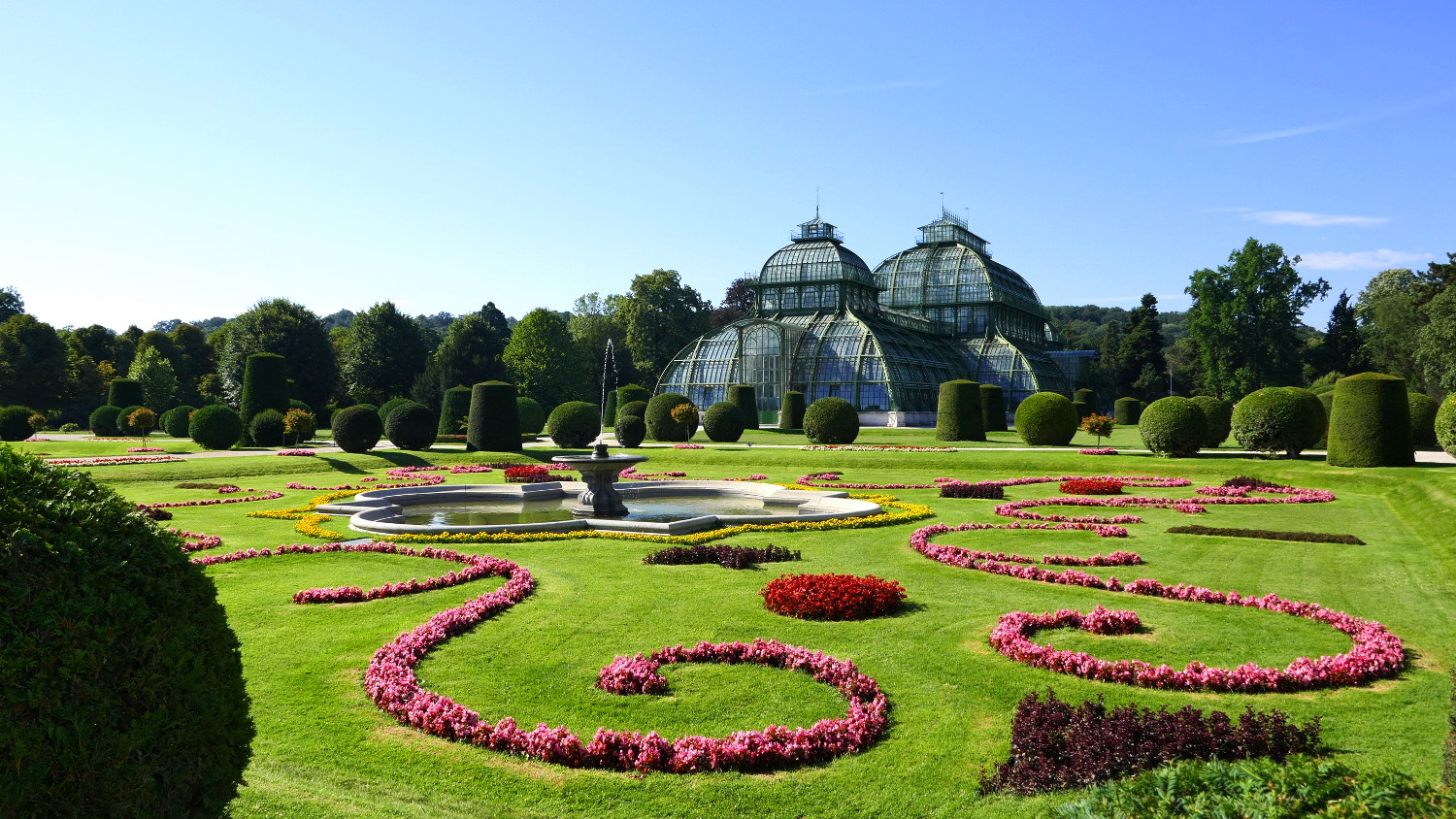 Garden and Palm House, Schonbrunn Palace, Vienna, Austria