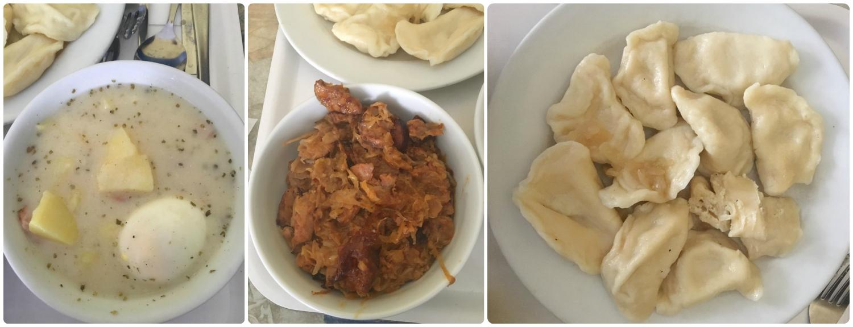 The food we ordered, from left to right:Zurek Z Kielbasa Ziemniakami I Jajkiem,Bigos Domowy,Pierogi Ruskie.