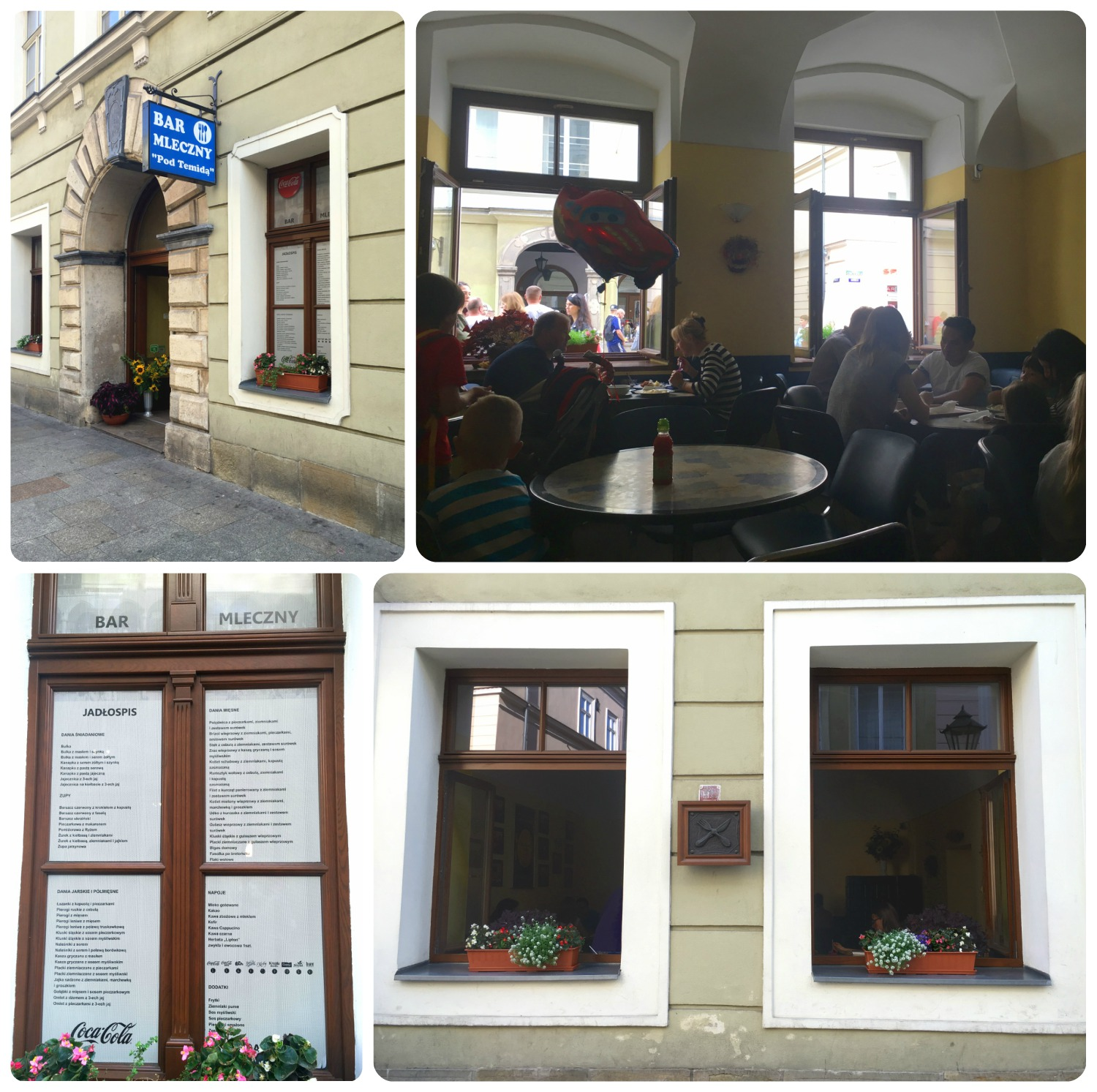 The exterior of Bar Mleczny 'Pod Temidą', as well as the inside seating space.