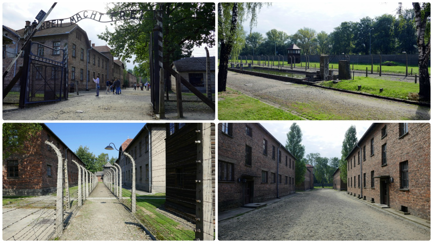 Standing in front of the entrance to Auschwitz Concentration Camp can be an emotional experience. Be prepared for the infamous entrance gate, rows of barbed wire, watchtowers, and lines of brick buildings.