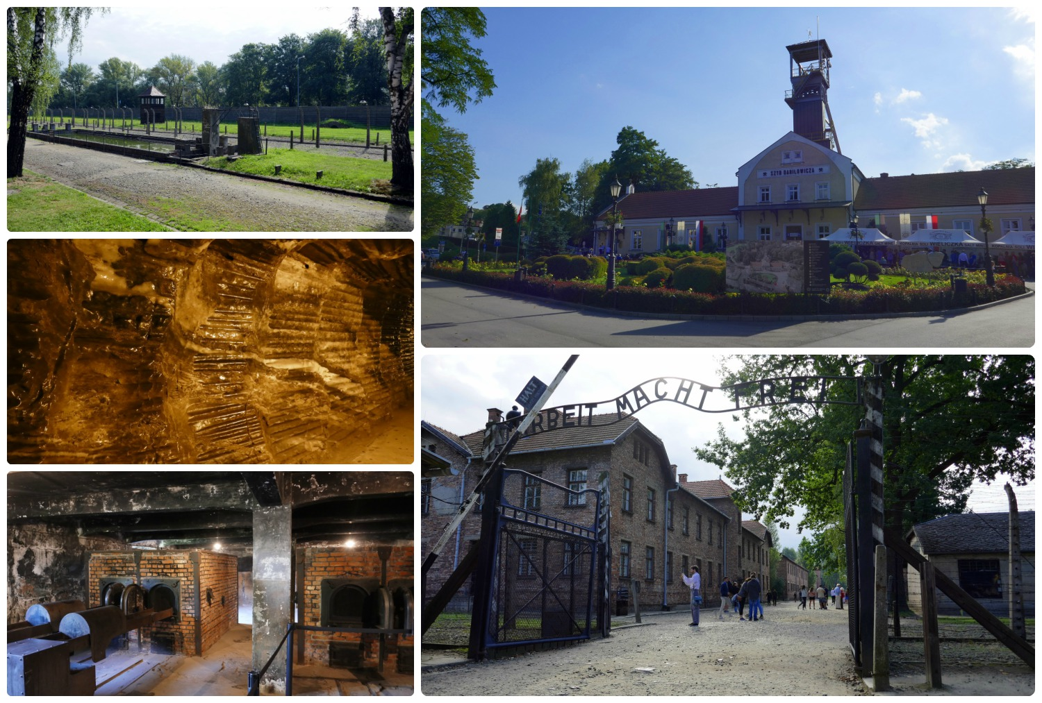 Due to availability, we had to purchase tour tickets from an independent tour company. We opted for a combined tour of Auschwitz and the Wieliczka Salt Mine. Clockwise (from the top left): Auschwitz-I , exterior of Wieliczka Salt Mine, the entrance to Auschwitz-I, inside the gas chambers at Auschwitz-I, the walls inside of Wieliczka Salt Mine.