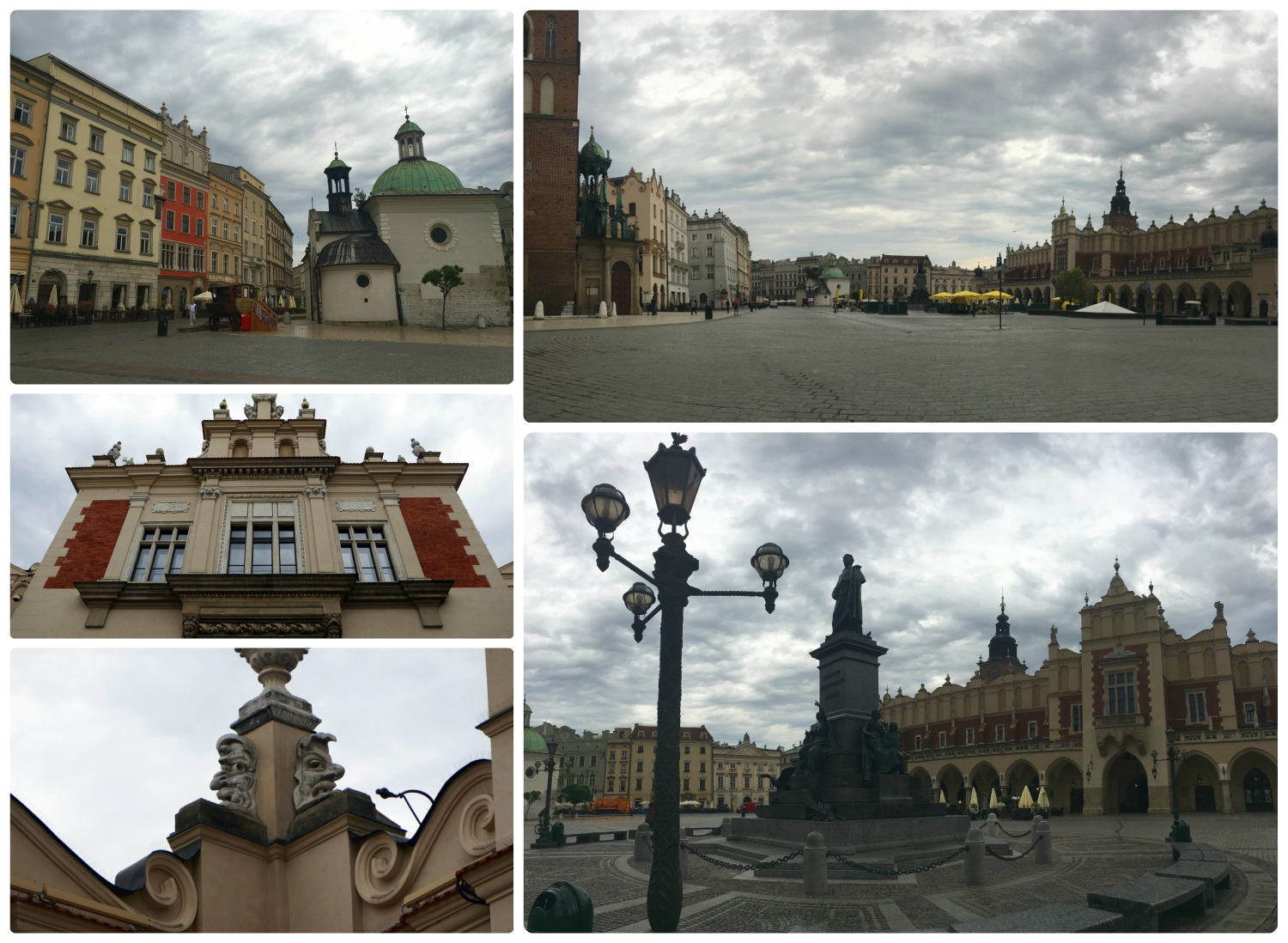 The size of Old Town Square in Krakow, Poland is impressive, but don't overlook the details of the buildings, they're beautiful!