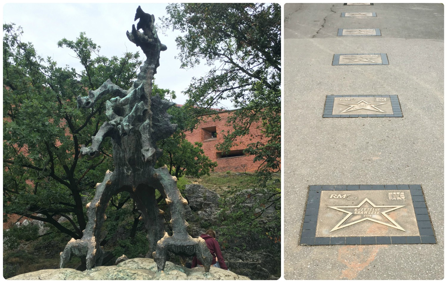 A short walk down hill from Wawel Cathedral and Wawel Castle in Krakow, Poland is Wawel Dragon, which kids love because it breaths real fire! Also, if you're interested in Polish celebrities, there's a walk of stars on the walkway along the river, just in front of the Wawel Dragon.