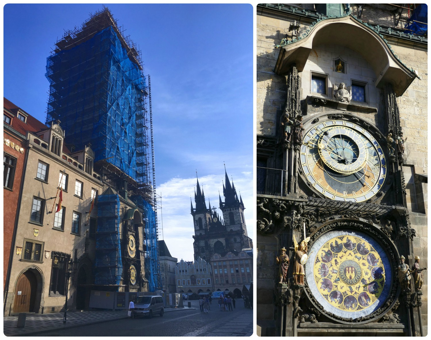Sadly, the Astronomical Clock in Old Town Square Prague was under renovation. However, we were grateful that we were still able to admire the exquisite detail of the clock!