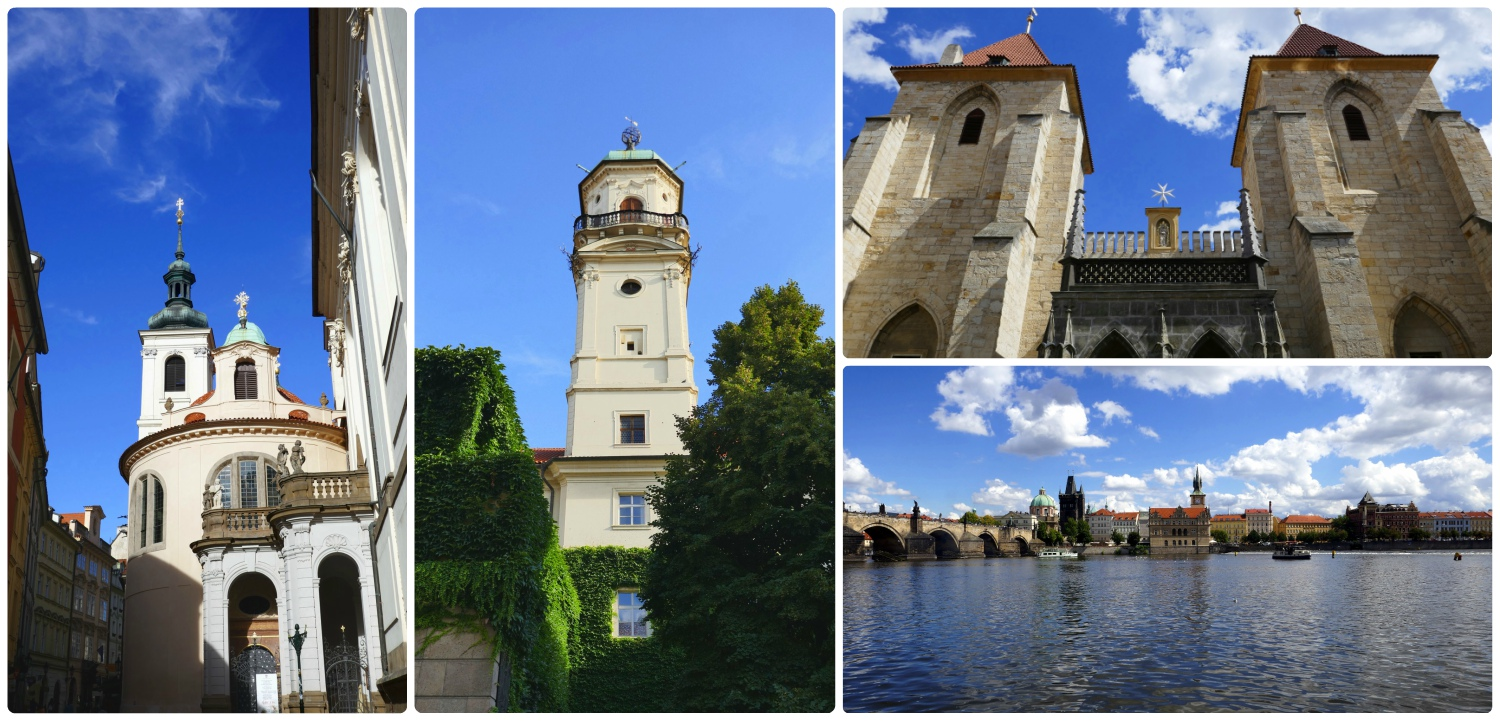 Clockwise (from the left): Church of St. Salvator, Clementinum, Virgin Mary Under Chain Church, views of Vltava River looking towards Old Town with St. Charles Bridge on the left side.