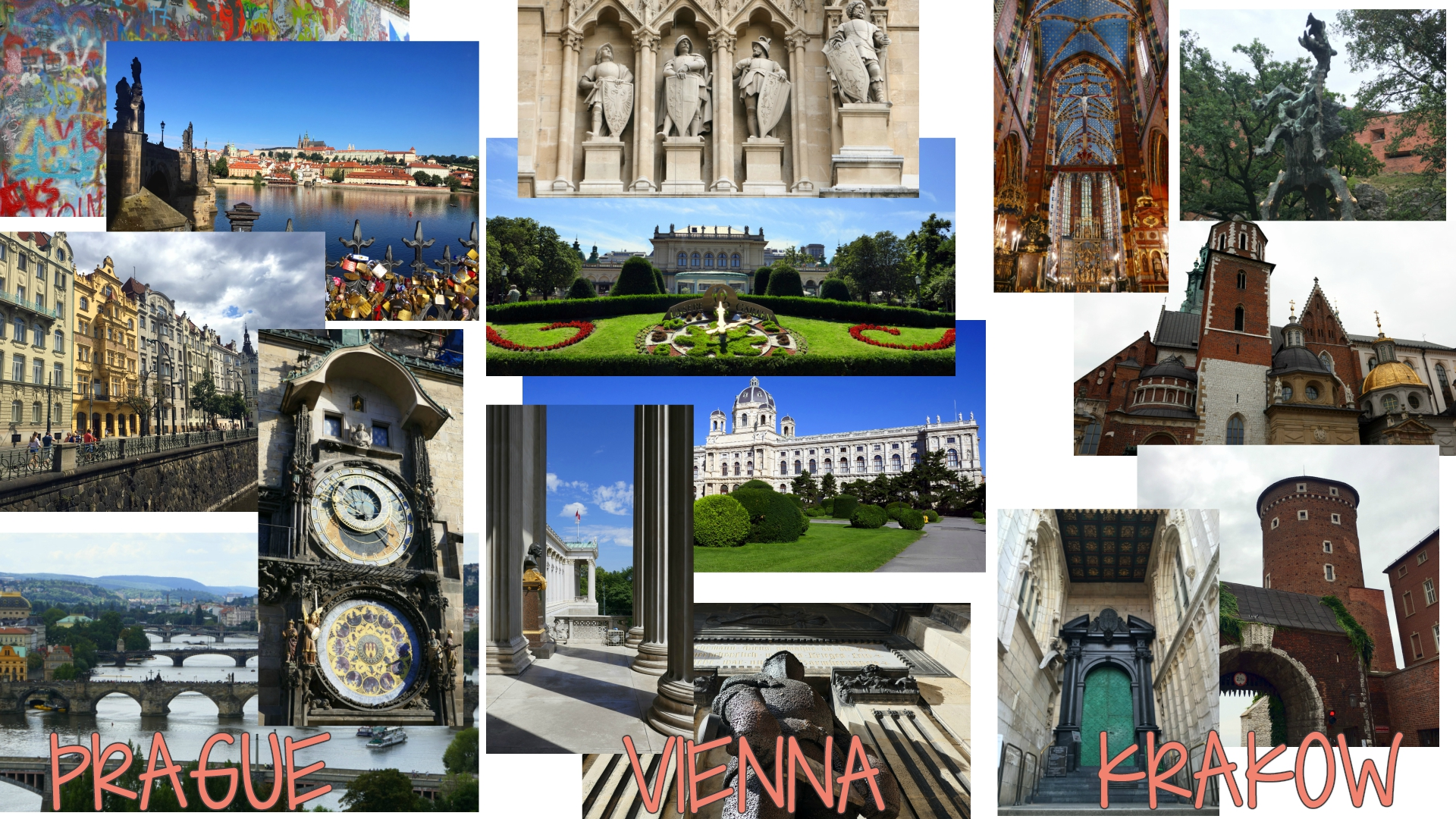 Each city was a unique and magnificent experience! Pictures on the left are of Prague, Czech Republic, in the center of Vienna, Austria, and on the right of Krakow, Poland.