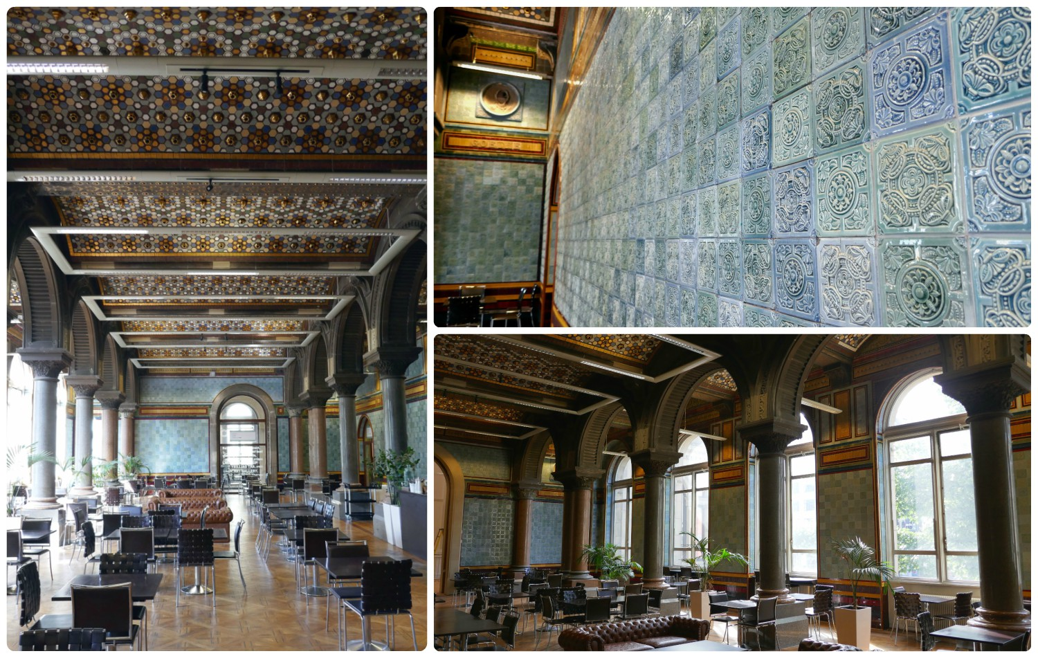 The tiled cafe within the Leeds Art Gallery is worth a visit on its own merit!