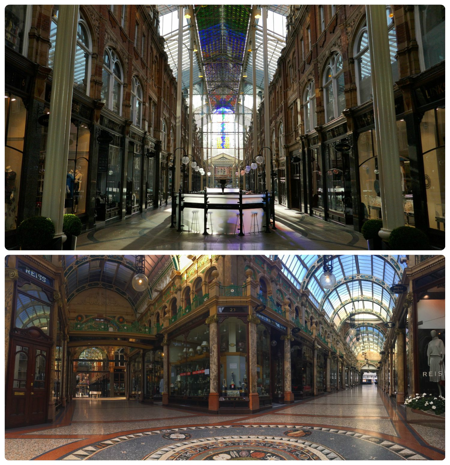 Our third visit to a Leeds arcade was Victoria Quarter (top image); one of the more well known arcades in the city. Once we took in the Victorian glamour of Victoria Quarter, we walked down the passage way and found another passage way that led to County Arcade (bottom image).