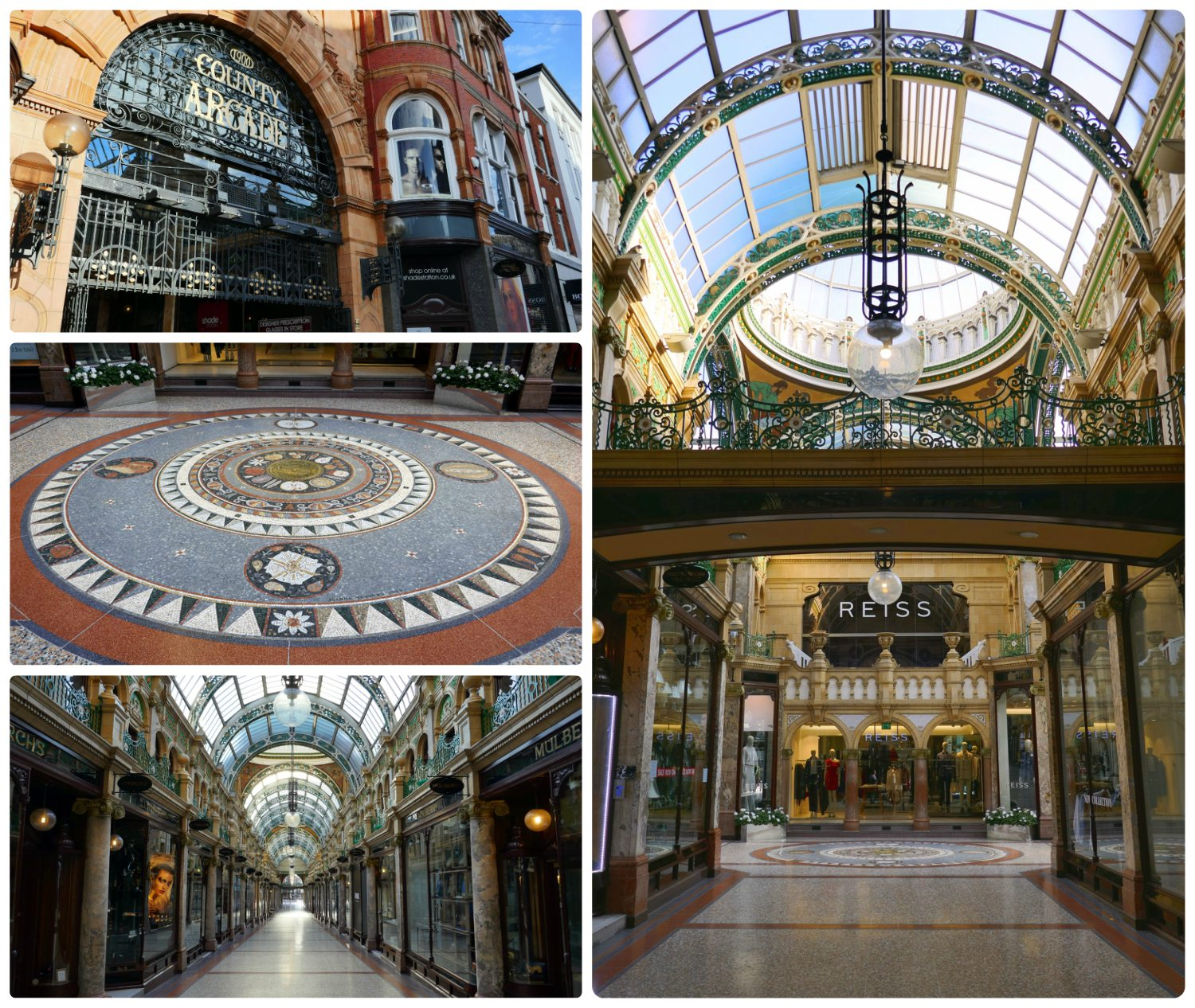 Victoria Quarter may be the most well known arcade in Leeds, but we favored the parallel arcade, County Arcade.