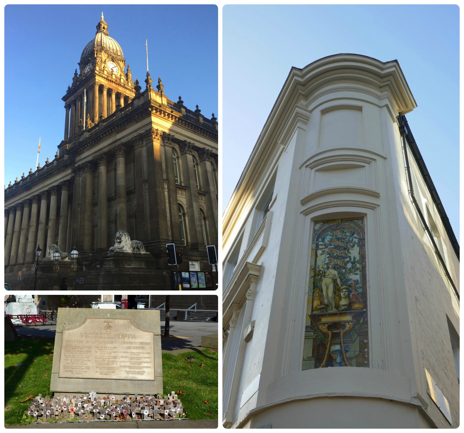 Next to Leeds Art Gallery is Leads Town Hall (top left image), and nearby is the Victoria Cross Memorial (bottom left image). Plus, on our way to the gallery, we passed by a building displaying a beautiful piece of art!