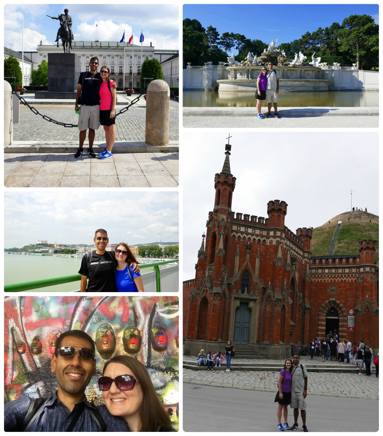 We had an adventure on our fast paced tour through (clockwise from the top left) Warsaw, Vienna, Krakow, Prague, and Bratislava!