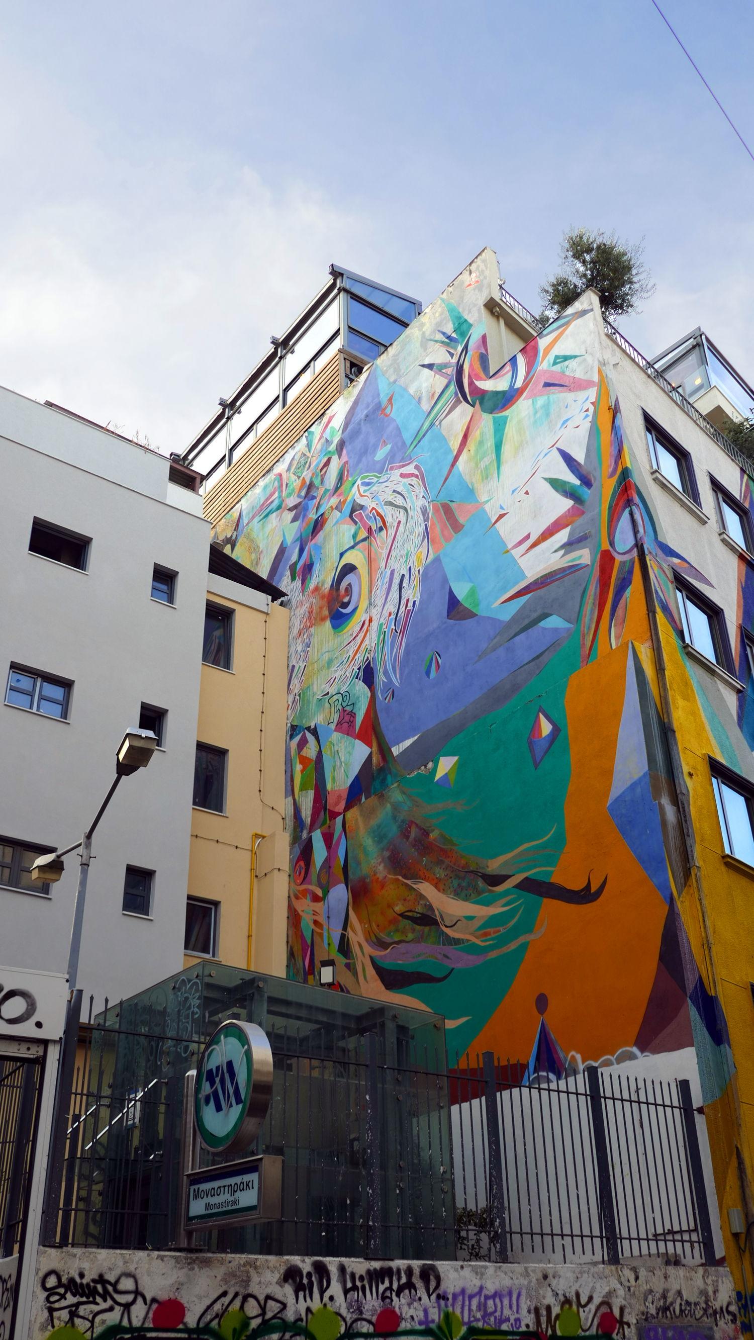 The Colorful Warrior  Artist :  Woozy, aka Vaggelis Choursoglou   Location : Monastiraki Metro Station, Athens, Greece