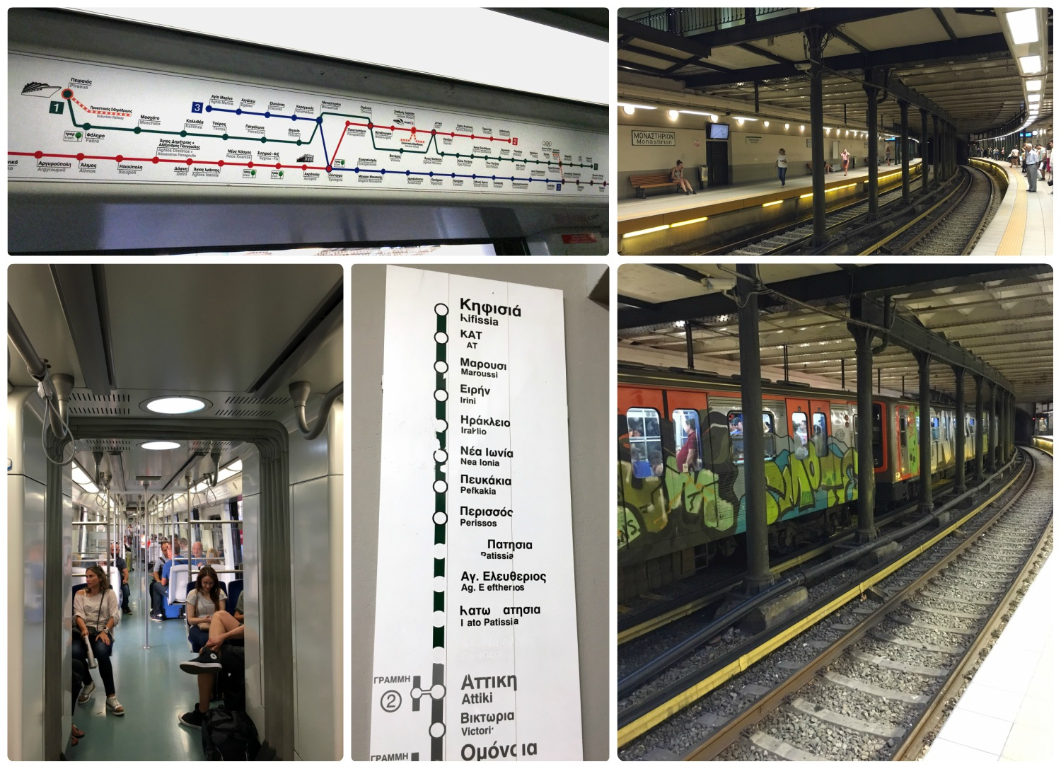 Athens Metro maps, signs, and stops.