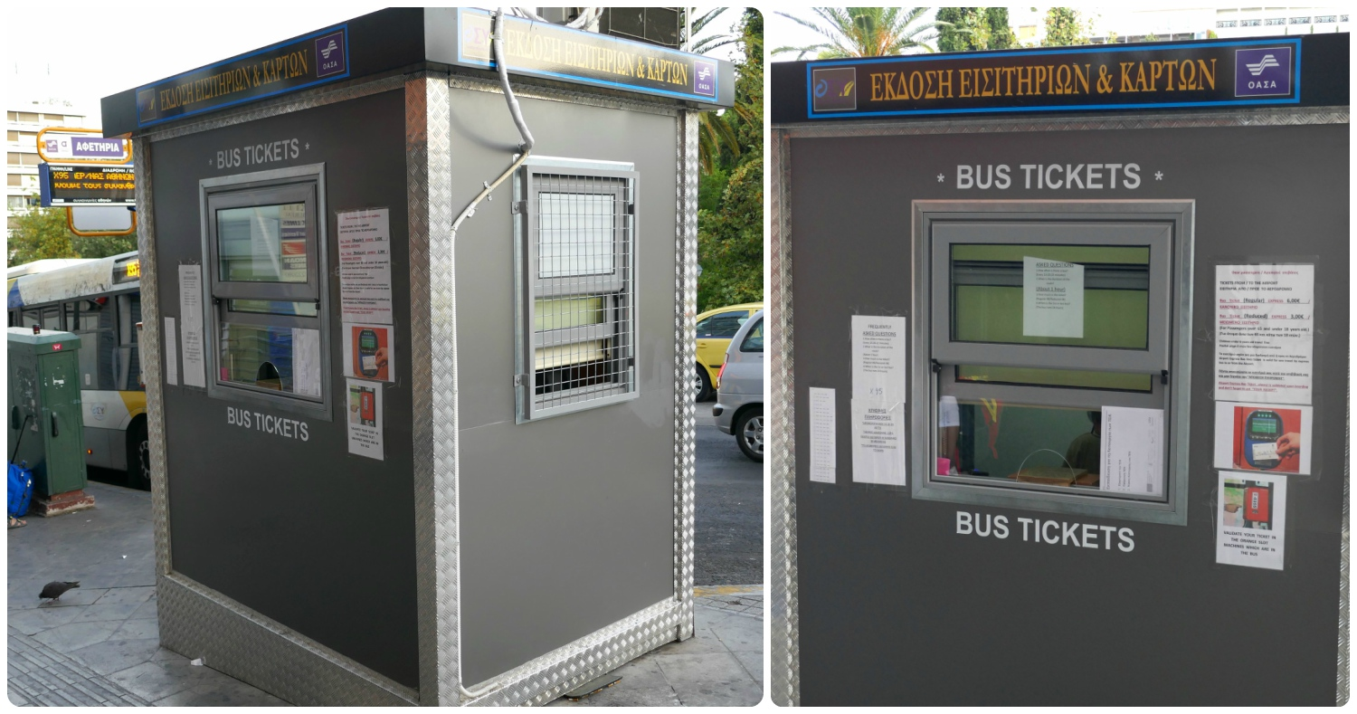 Ticket booth to purchase Athens bus tickets.