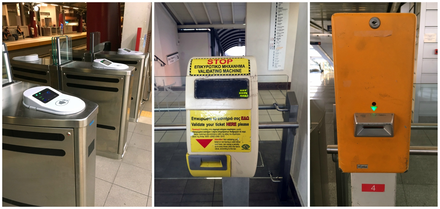 Different types of Athens public transportation ticket validation machines.
