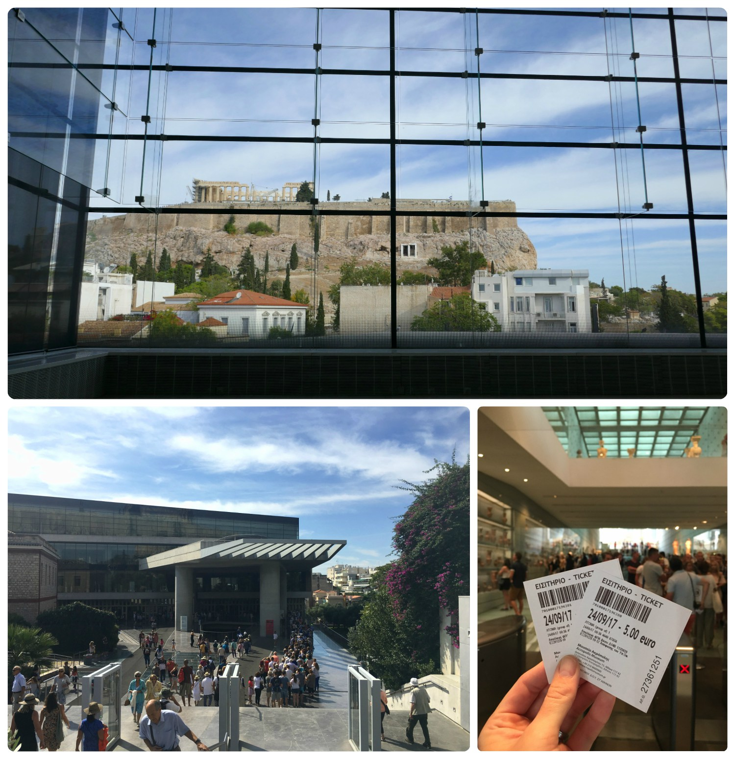 The view from the panoramic windows of the Acropolis Museum athens aren't only spectacular, but a perfect backdrop for the ancient treasures on display. All of this for just 5 Euros sure draws a crowd. We arrived early in the morning and avoided the line we saw when passing by the museum later in the afternoon.