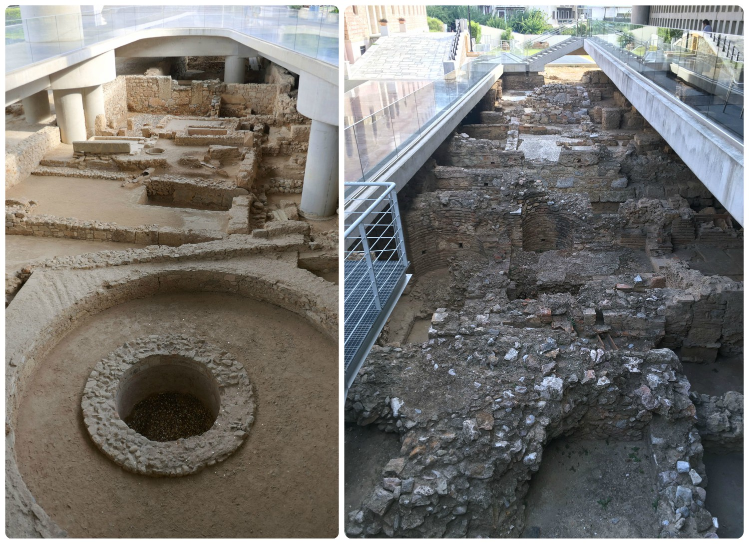 The modern city of Athens, Greece is built upon the ruins of Ancient Athens and the Acropolis Museum does a fantastic job at displaying the ruins that were uncovered beneath the grounds of the museum.