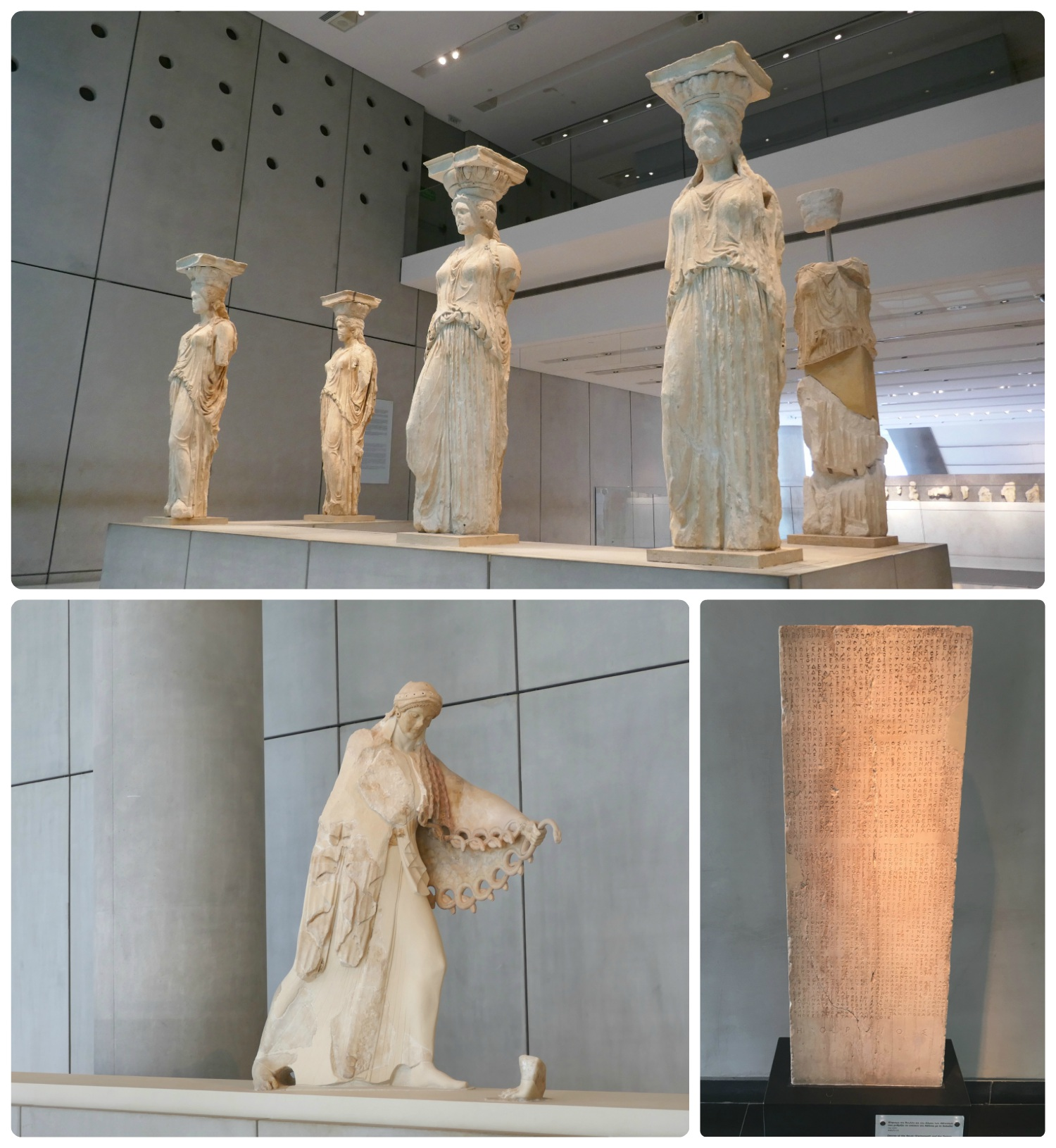 Artifacts displayed at the Acropolis Museum Athens. Clockwise (from the top): Five of the six original caryatids from the Maidens Porch (on the Erechtheion within the Athens Acropolis) are elegantly displayed in the center of the museum, the Decree of the Boule (Parliament) and the Demos of the Athenians regulating the relations of Athens with Chalkis dated 446/5 BCE,Colossal Statue of Athena dated 525 BCE.