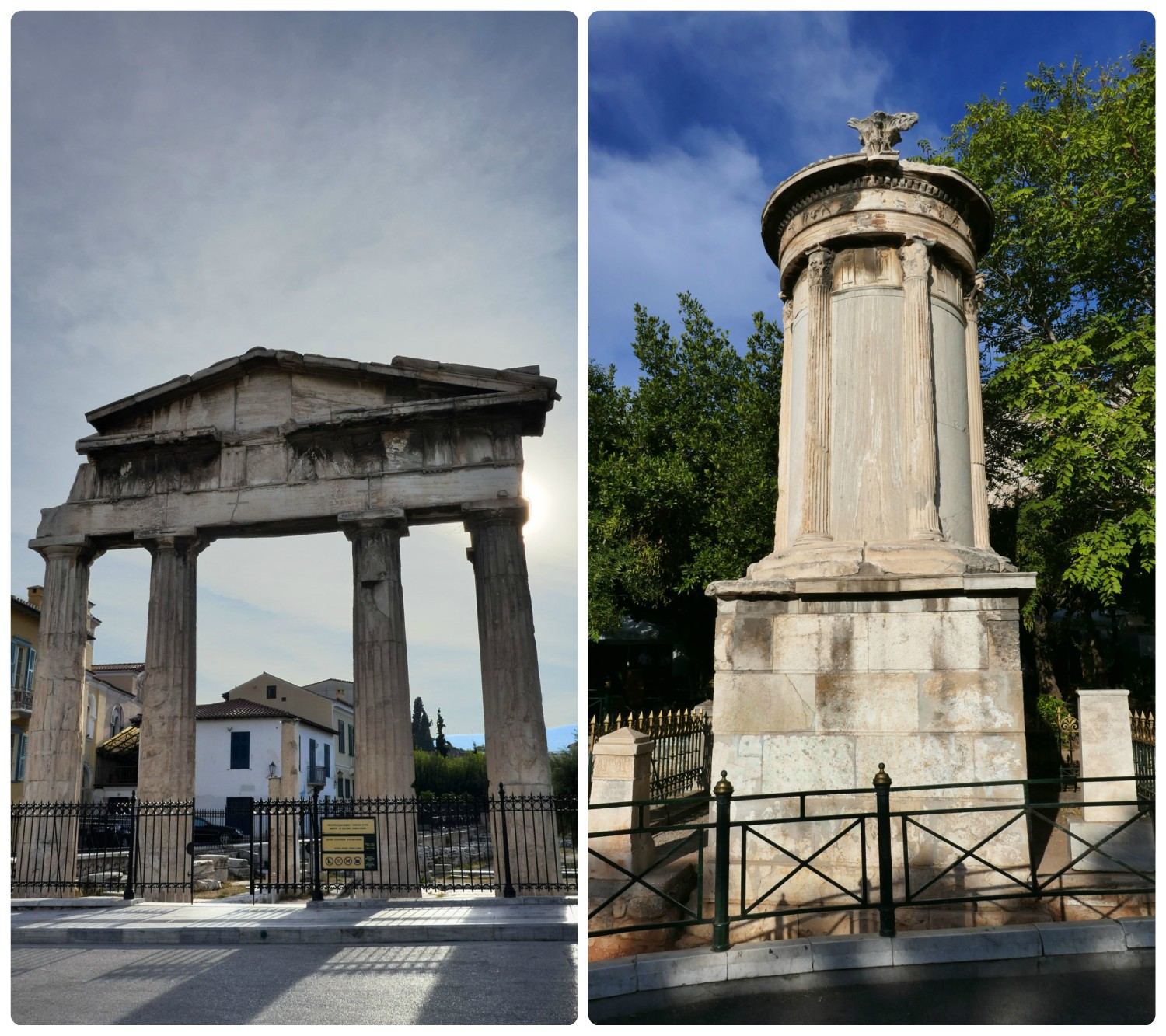 In addition to exploring Plaka neighborhood, you can also see the Roman Agora ancient ruin (left image) and the Monument to Lysikratous (right image).