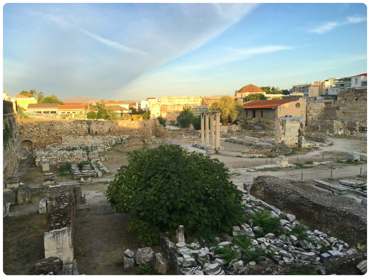 Hadrian's Library can be found on the East Side of Monastiraki Square in Athens, Greece.