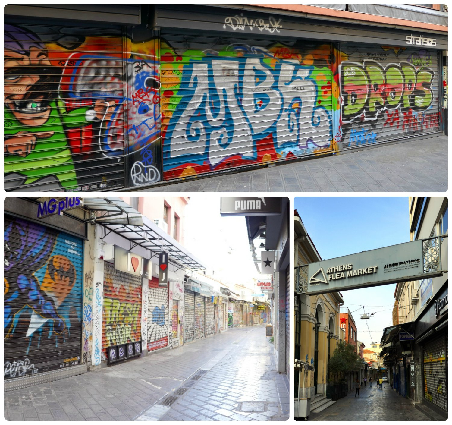 We visited Monastiraki Flea Market in the early morning hours, before the shops were open. We enjoyed exploring the street art that was only visible when the shops are closed, however later in the day, this area was bustling with people!