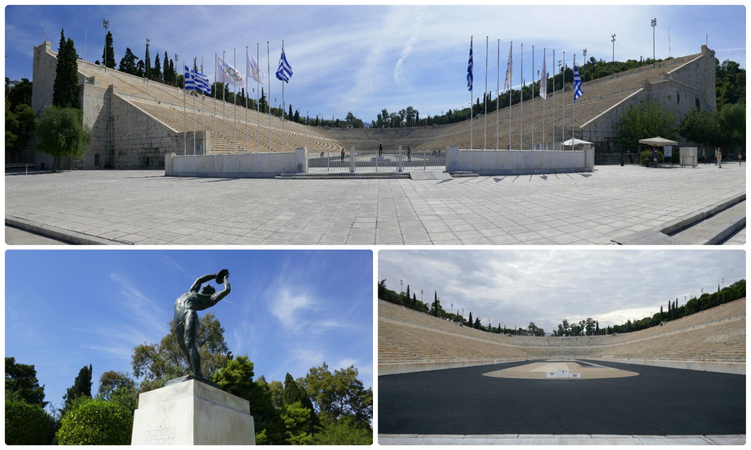 The historic Panathenaic Stadium in Athens can be seen from the street at no cost, or visitors can purchase tickets to enter the stadium, if they perfer.