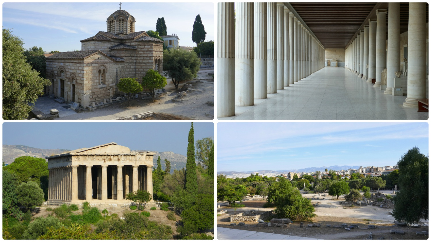The Ancient Agora of Athens is included in the Athens Combined Ticket. When you explore the ruins here, you'll find the Church of the Holy Apostles (top left image), Stoa of Attalos (top right image), and the Hephaestus Temple (bottom left image).