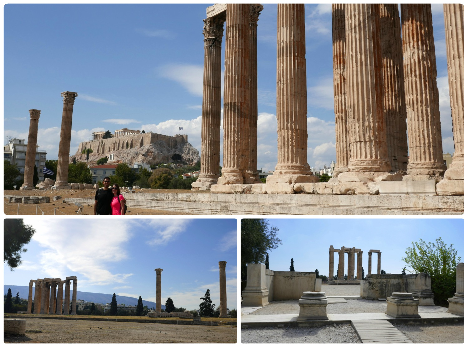The Temple of Olympian Zeus is included in the Athens Combined Ticket. It's worth noting that the top image and the bottom right image are taken within the area of the site that requires a ticket. However, the bottom left image is taken from a public spot behind the Arch of Hadrian.