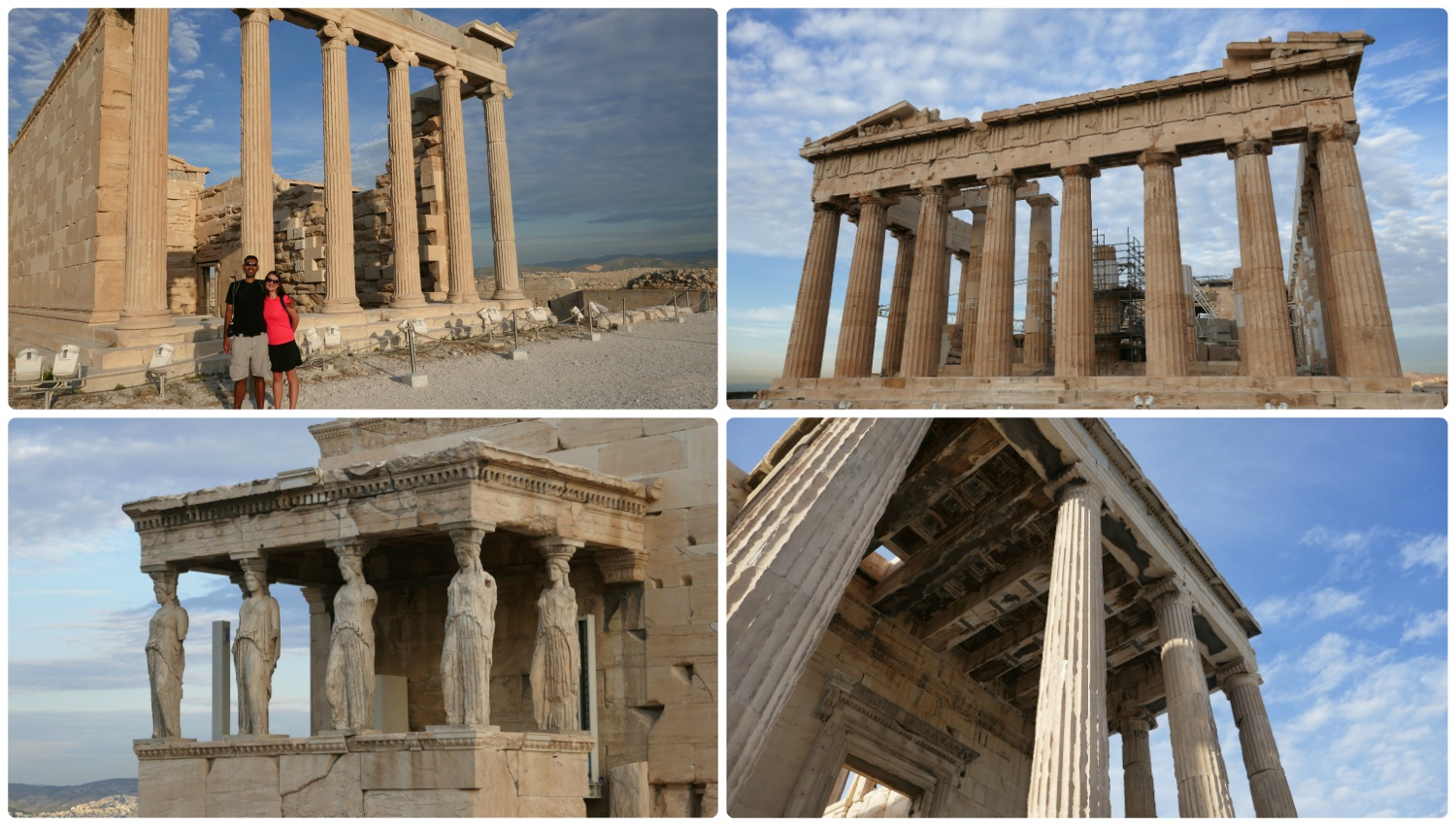 We'd seen pictures of it and learned about ancient Greek ruins in school, but once we were actually at the Athens Acropolis, it was a surreal experience! Clockwise (from the top left): Us in front of the Erechtheum, the Parthenon, the side of the Erechtheum, the Maiden's Porch.