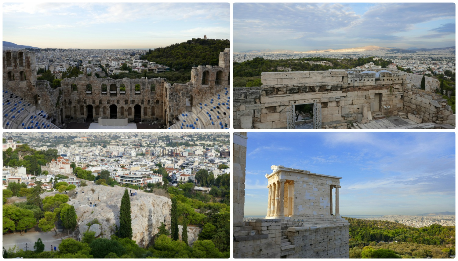 Clockwise (from the top left): Odeon of Herodes Atticus, Propylaea, Temple of Athena Nike, Mars Hill (Areopagus).