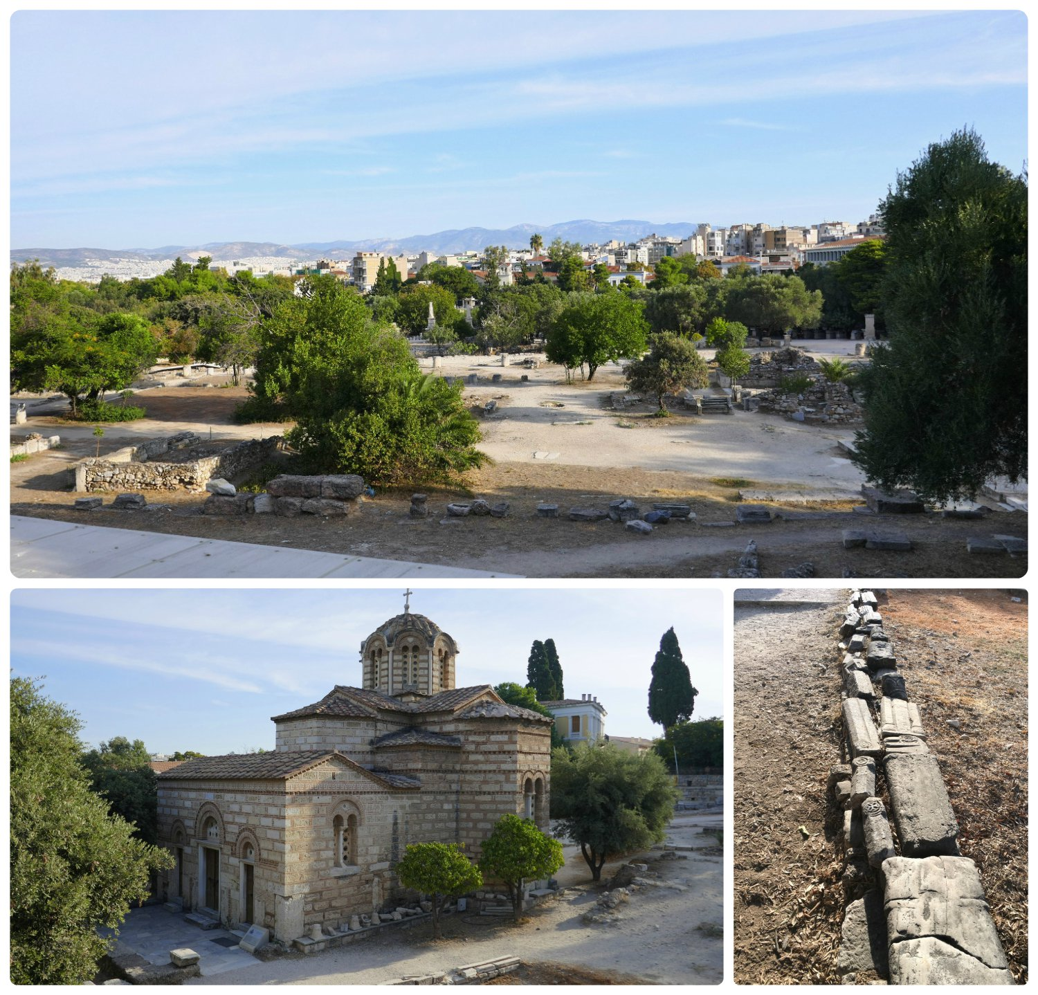 There are many ruins within the Ancient Agora of Athens. Clockwise (from the top): looking out over the grounds of the Ancient Agora of Athens, the remnants of a stone wall, Church of the Holy Apostles.