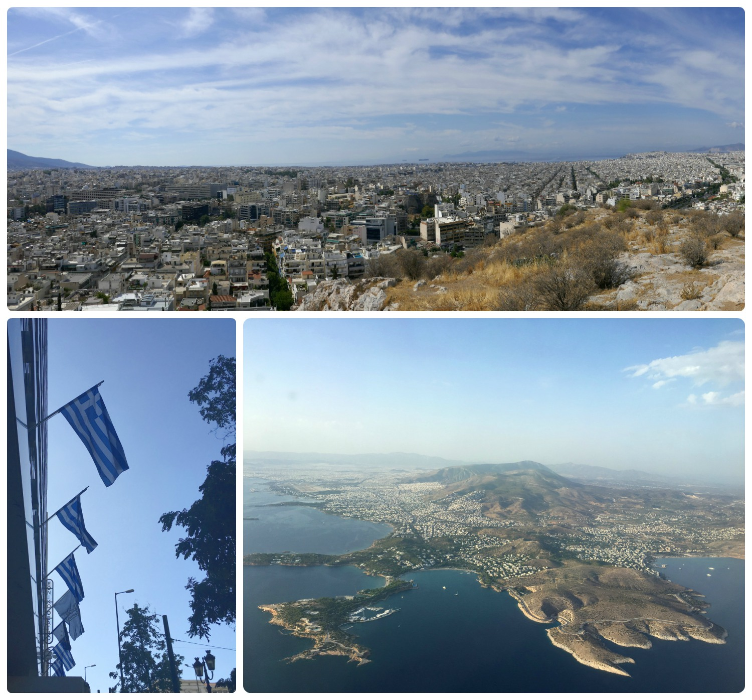 Clockwise (from the top): You can see from the city all the way to the ocean from the view point atop Pnyx Hill, viewing Greece as we approached Athens for landing, Greek flags.