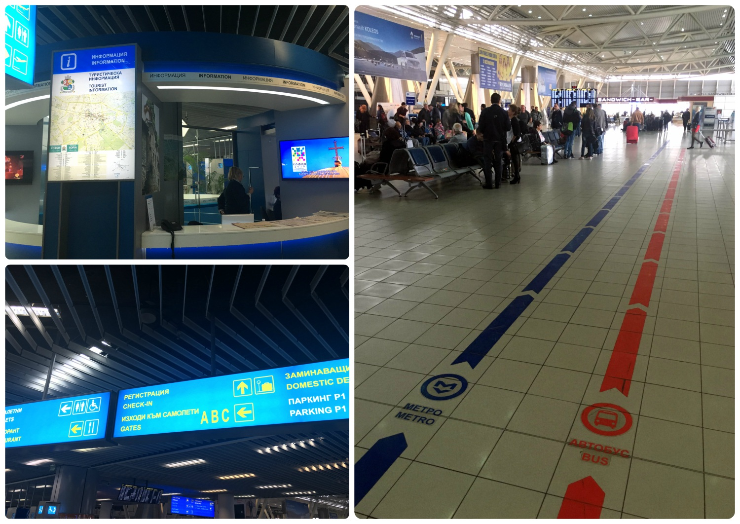 Once you're in the common area in Terminal 1 of the Sofia Airport, follow the lines on the floor for the metro (blue) or the bus (red). If you need assistance, be sure to ask at the information desk for help.