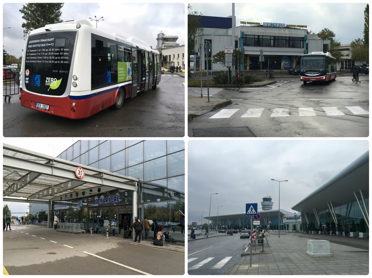 """There's a convienient and free shuttle at the Sofia Airport that takes you to and from Terminal 1 and 2. Pick-up and drop-off locations are outside of each terminal, indicated by the """"Shuttle Bus"""" sign. Terminal 2 is shown on the bottom left and Terminal 1 is shown on the bottom right."""