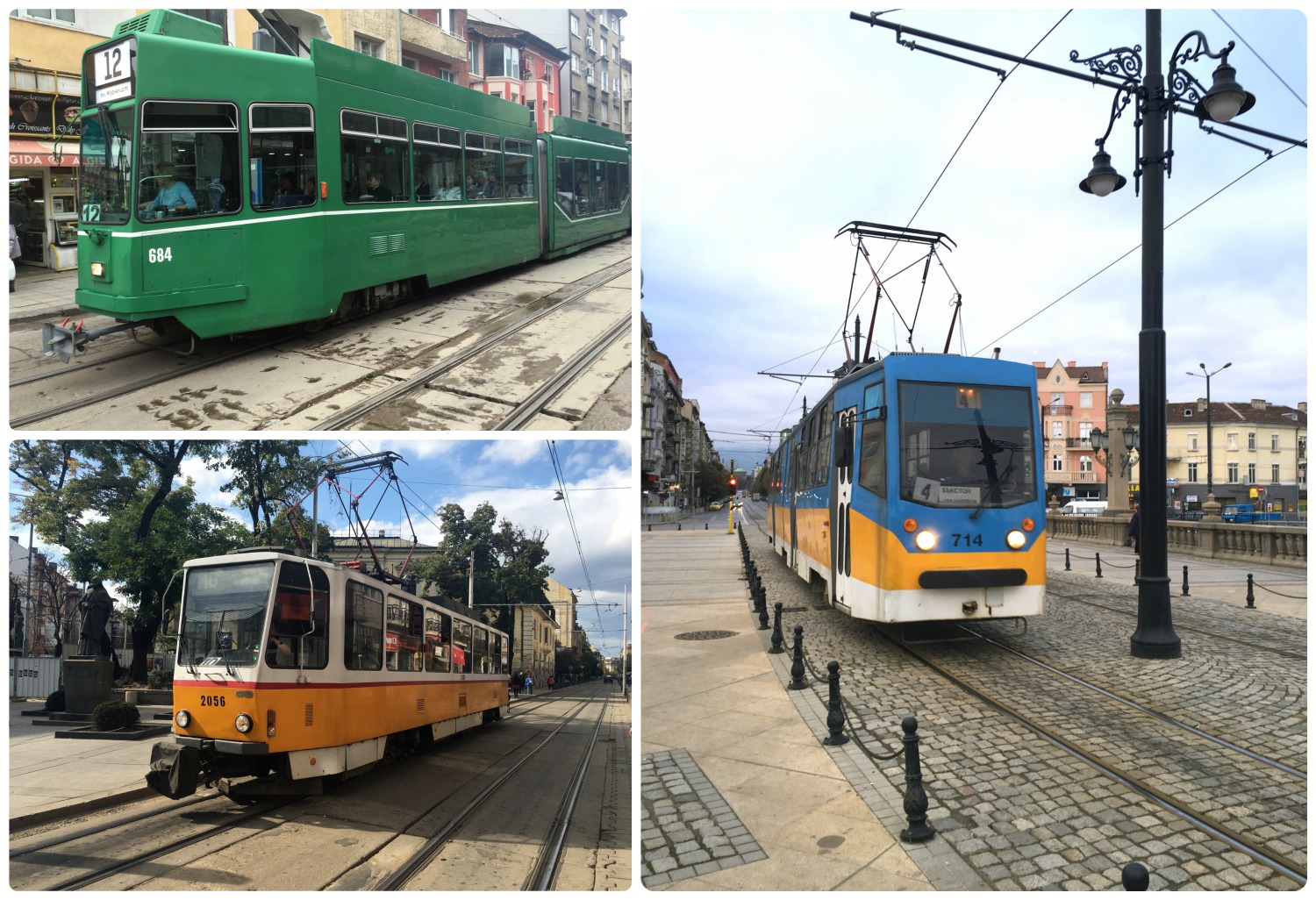Sofia, Bulgaria trams vary in color and age.